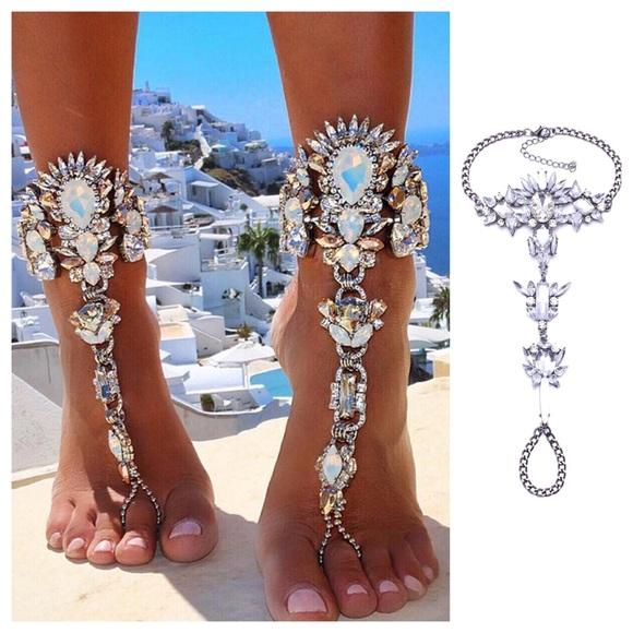 c5e176aae Crystal Rhinestone Barefoot Sandals Anklet Set